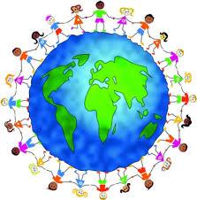 Globe with children standing around the perimeter